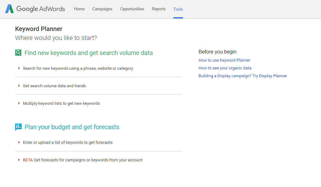 Keyword planner first page