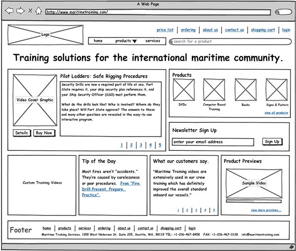 An example of a wireframe. (Source: Behance)
