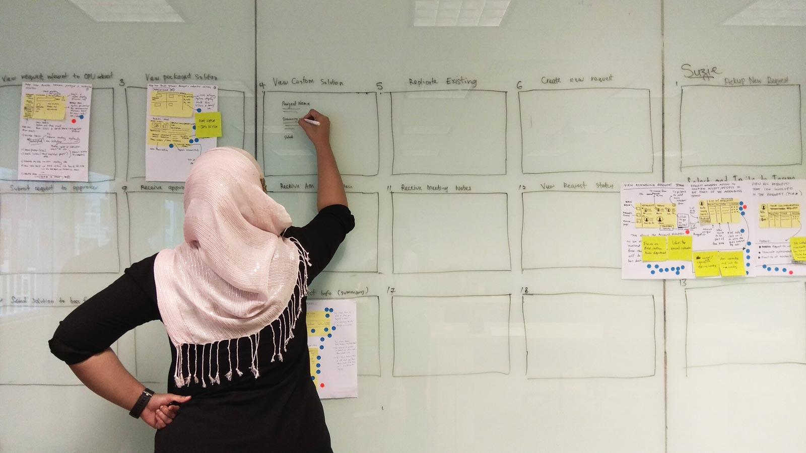 Shaza writing on glasswall