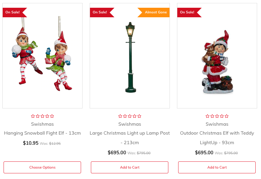 Example of product sashes on the Christmas Elves ecommerce website.